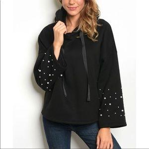Jackets & Blazers - 🆕Black Bell-Sleeve Hooded SweatShirt PEARL detail